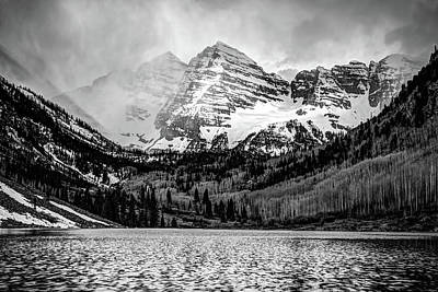Photograph - Maroon Bells Cloudy Mountain Landscape - Black And White Wall Art by Gregory Ballos