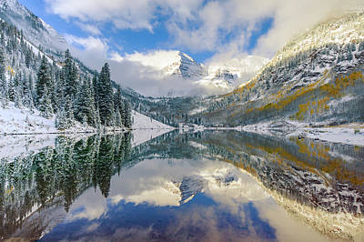 Photograph - Maroon Bells Colorado Mountain Landscape Reflection by Gregory Ballos