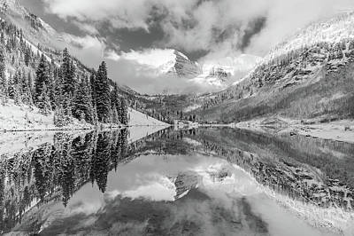 Photograph - Maroon Bells Colorado Mountain Landscape Reflection - Monochrome Edition by Gregory Ballos