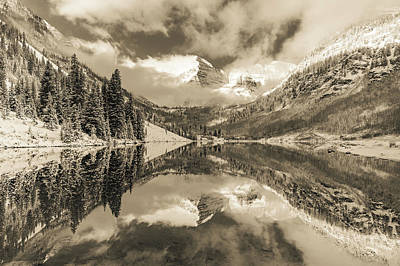 Landscapes Royalty-Free and Rights-Managed Images - Maroon Bells Colorado Mountain Landscape Reflection - Sepia Edition by Gregory Ballos