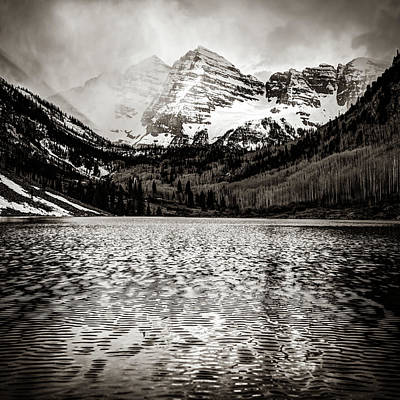 Photograph - Maroon Bells Colorado Mountain Landscape - Square Sepia Wall Art  by Gregory Ballos