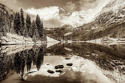 Perfect Christmas Card Photograph - Maroon Bells Covered In Snow - Aspen Colorado - Sepia Edition by Gregory Ballos