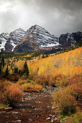 Photograph - Maroon Bells Fall Storm by Johnny Adolphson