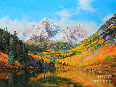 Rocky Mountain National Park Painting - Maroon Bells by Gary Kim