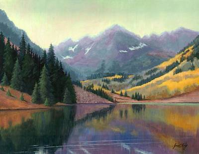 Painting - Maroon Bells In October by Janet King