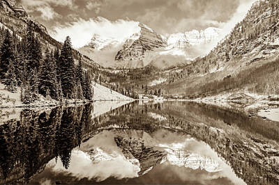 Photograph - Maroon Bells In Sepia - Aspen Colorado by Gregory Ballos