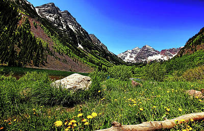 Photograph - Maroon Bells In Summer Painted by Judy Vincent