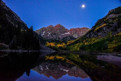 Photograph - Maroon Bells, Just Before Sunrise, Colorado by Marilyn Burton