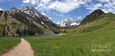 Photograph - Maroon Bells Meadow Panorama by Adam Jewell