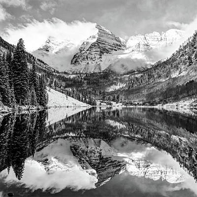 Photograph - Maroon Bells Monochrome - Aspen Colorado by Gregory Ballos