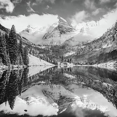 Photograph - Maroon Bells Monochrome Mountain Landscape - Aspen Colorado 1x1 by Gregory Ballos