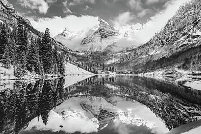 Photograph - Maroon Bells Monochrome Mountain Landscape - Aspen Colorado by Gregory Ballos