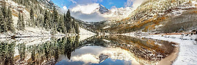 Photograph - Maroon Bells Mountain Landscape Panoramic - Aspen Colorado by Gregory Ballos