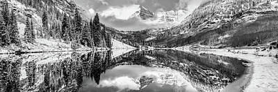 Photograph - Maroon Bells Mountain Landscape Panoramic Bw - Aspen Colorado by Gregory Ballos