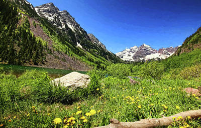 Photograph - Maroon Bells Oil Painting by Judy Vincent