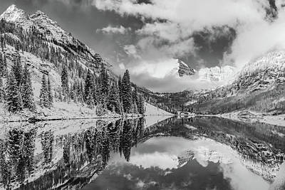 Photograph - Maroon Bells Peaks And Mountain Landscape Reflections - Black And White by Gregory Ballos
