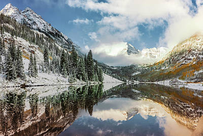 Photograph - Maroon Bells Peaks And Mountain Landscape Reflections by Gregory Ballos