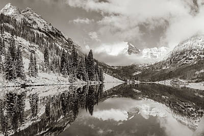 Photograph - Maroon Bells Peaks And Mountain Landscape Reflections - Sepia by Gregory Ballos