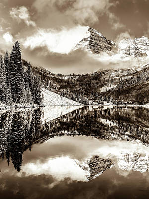 Photograph - Maroon Bells - Sepia Edition by Gregory Ballos