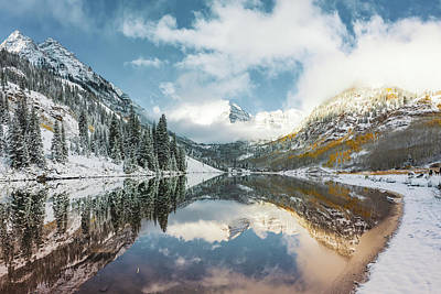Landscapes Royalty-Free and Rights-Managed Images - Maroon Bells Snowy Autumn Mountain Landscape - Aspen Colorado by Gregory Ballos
