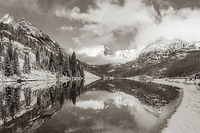 Photograph - Maroon Bells Snowy Autumn Mountain Landscape - Aspen Colorado - Sepia by Gregory Ballos
