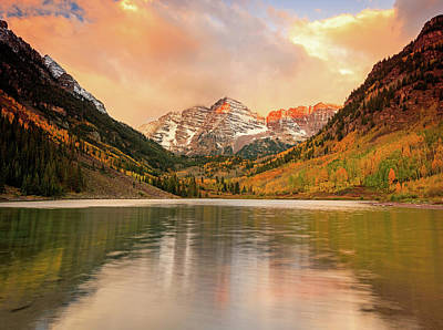 Photograph - Maroon Bells Sunrise Reflection by Johnny Adolphson