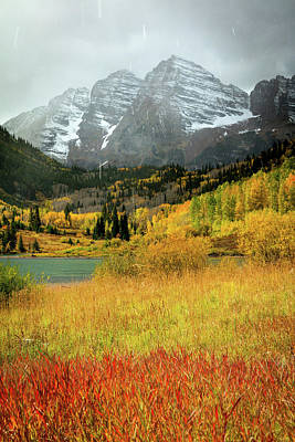 Photograph - Maroon Bells With Autumn Snow by Johnny Adolphson