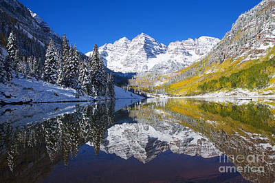 Snowfall Photograph - Maroon Lake And Bells 1 by Ron Dahlquist - Printscapes
