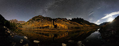 Maroon Lake Milky Way Panorama Art Print by Mike Berenson