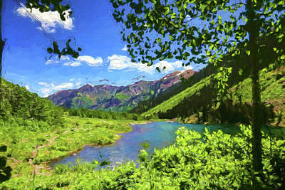 Photograph - Maroon Lake Painted by Judy Vincent