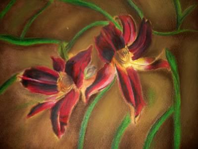 Maroon Lillies Art Print by Latha  Vasudevan