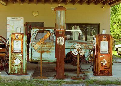 Photograph - Marquardt Garage - Sinclair Gas Pumps - Sisterdale Texas by Debra Martz
