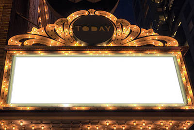 Photograph - Marquee Lights Blank Sign by David Gn