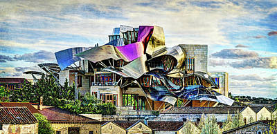 Photograph - marques de riscal Hotel at sunset - frank gehry - vintage version by Weston Westmoreland