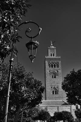 Photograph - Marrakesh - Koutoubia Mosque 001 Bw by Lance Vaughn