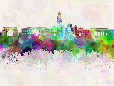 Marrakesh Painting - Marrakesh Skyline In Watercolor Background by Pablo Romero