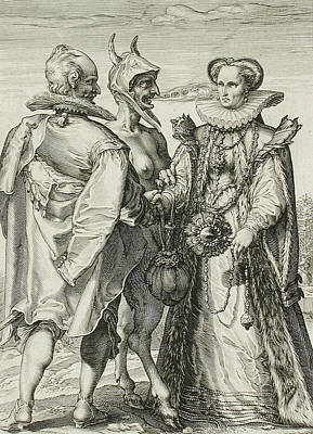 Balck Drawing - Marriage For Money by Jan Saenredam