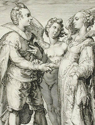 Ruff Drawing - Marriage For Pleasure by Jan Saenredam