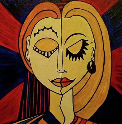 Picasso Style Painting - Marriage by Janice Heinzelman