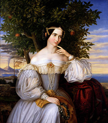 Fruit Tree Art Painting - Marriage Portrait Of Charlotte De Rothschild by Moritz Daniel Oppenheim