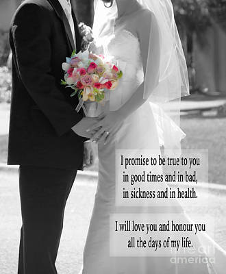 Photograph - Marriage Vows - Black And White #2 by Claudia Ellis