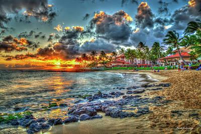 Photograph - Marriotts Waiohai Beach Club Sunset Kauai Hawaii Art by Reid Callaway