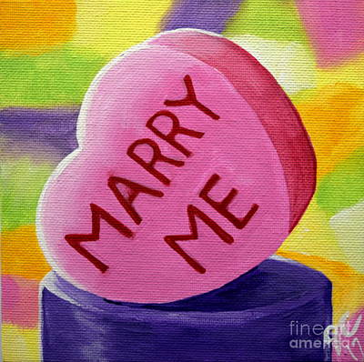 Painting - Marry Me Candy Hearts by Jackie Carpenter