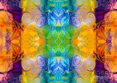 A Hand Mirror Digital Art - Marrying A Rainbow Abstract Bliss Art By Omashte by Omaste Witkowski