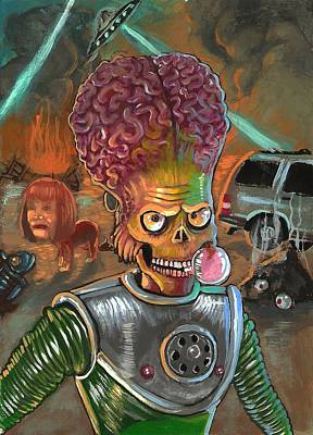 Character Portraits Painting - Mars Attacks by DaMarco Randle