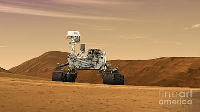 Photograph - Mars Rover Curiosity, Artists Rendering by NASA and Science Source
