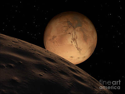 Mars Seen From Its Outer Moon, Deimos Print by Ron Miller