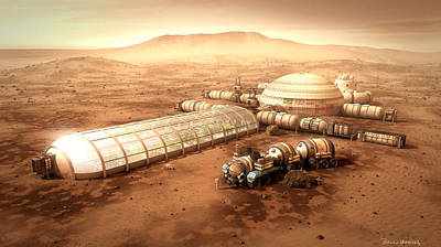 Mixed Media - Mars Settlement With Farm by Bryan Versteeg