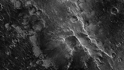 Photograph - Mars Surface Black And White  Plateau Plains by Nasa