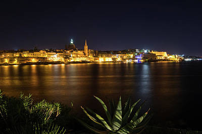 Photograph - Marsamxett Harbor Night Garden With Valletta Skyline by Georgia Mizuleva